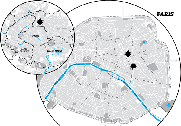 Una mappa dei tre attentati