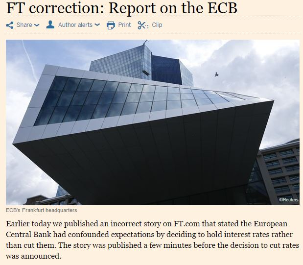 financial times errore bce tassi