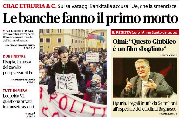 Salva Banche: pensionato di Civitavecchia perde tutti i risparmi e si suicida