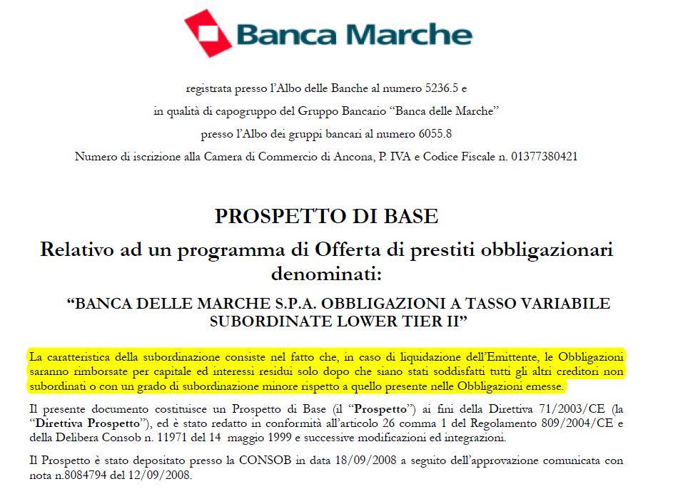 obbligazioni subordinate prospetto base banca marche