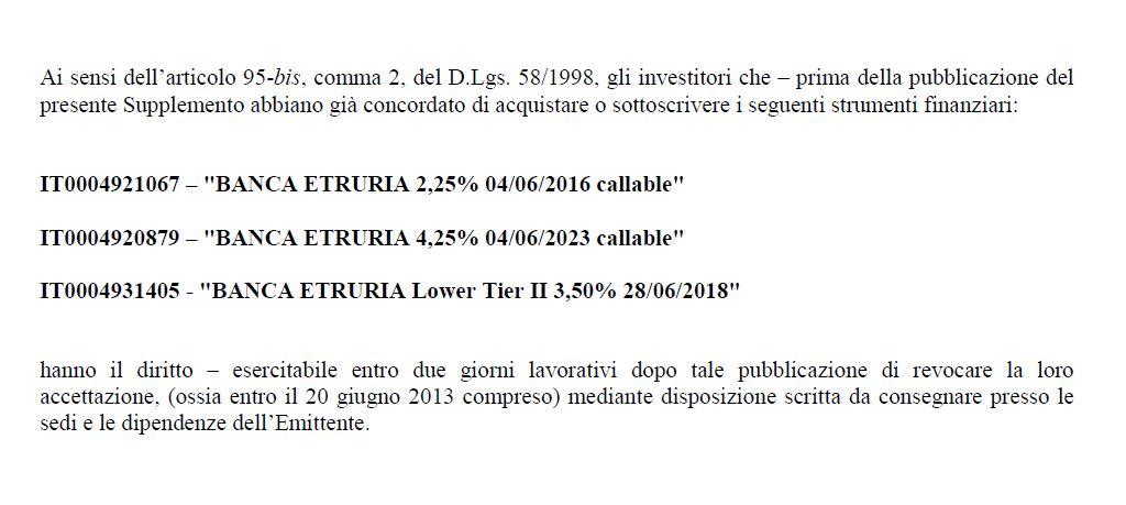 obbligazioni subordinate prospetto supplemento banca etruria