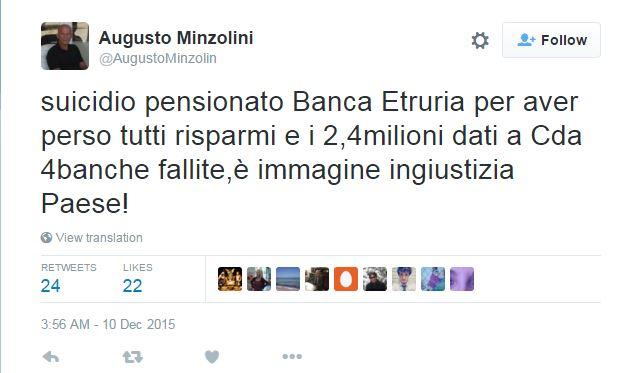 pensionato suicida banca etruria augusto minzolini