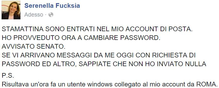 serenella fucksia account posta