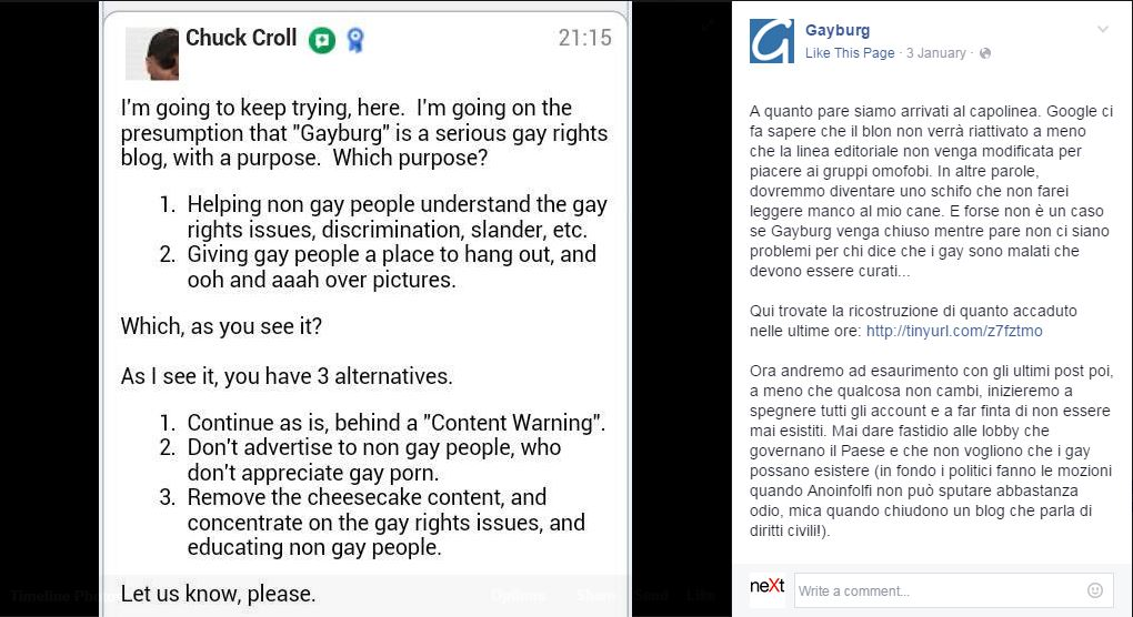 gayburg google oscuramento - 2