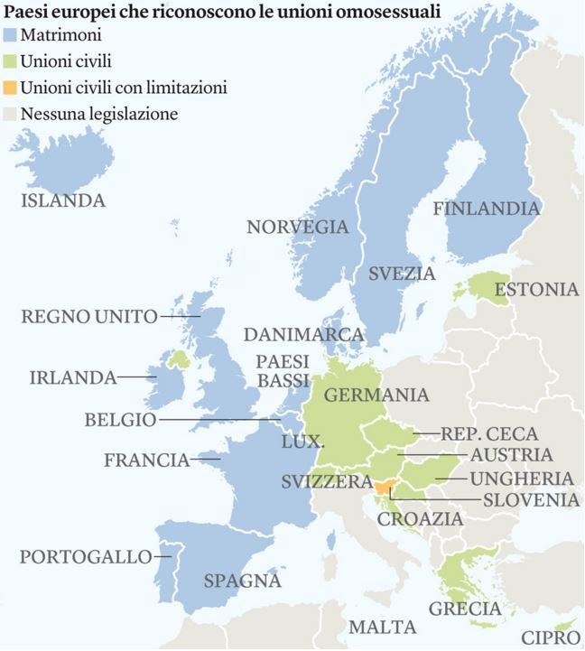 La situazione sulle Unioni Civili tra persone dello stesso sesso in Europa (fonte: