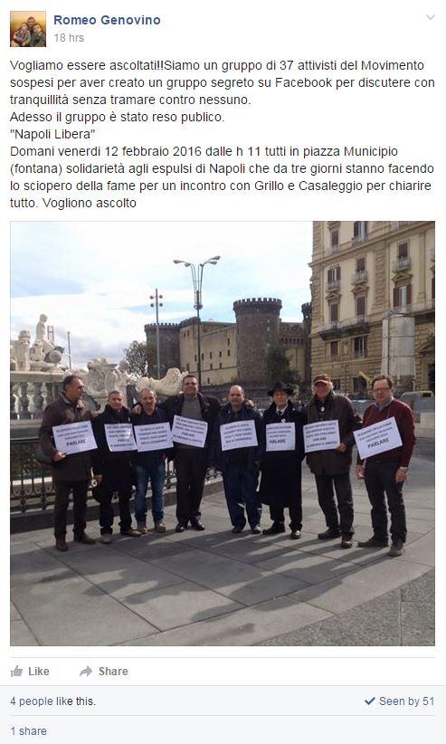 napoli libera meetup sospesi sciopero fame - 3