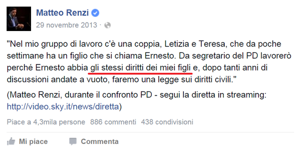 stepchild adoption matteo renzi