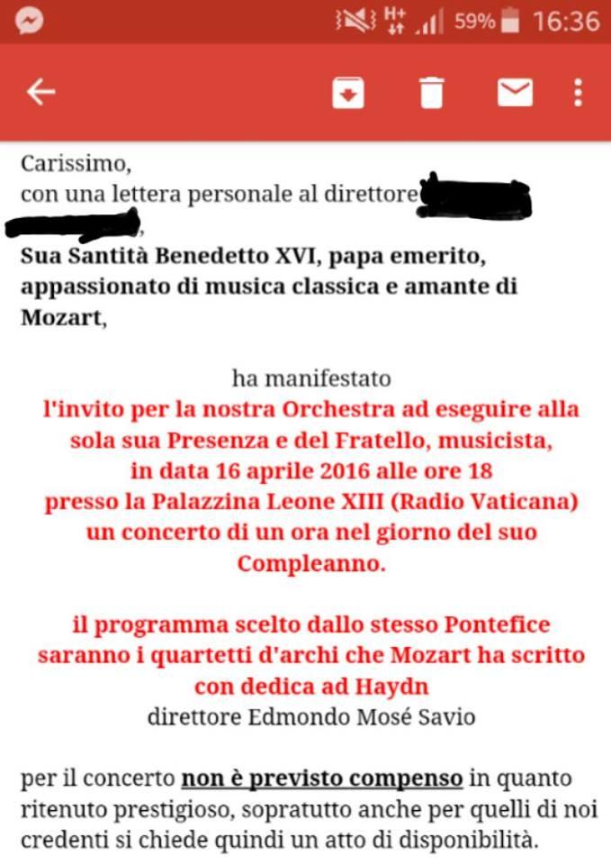 benedetto XVI compleanno concerto