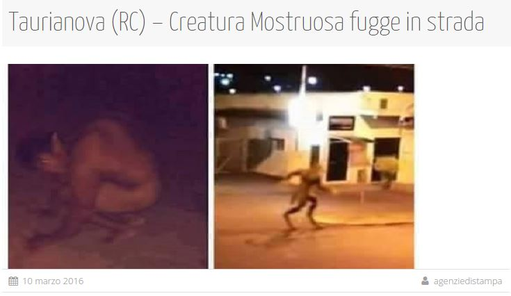 creatura mostruosa taurianova