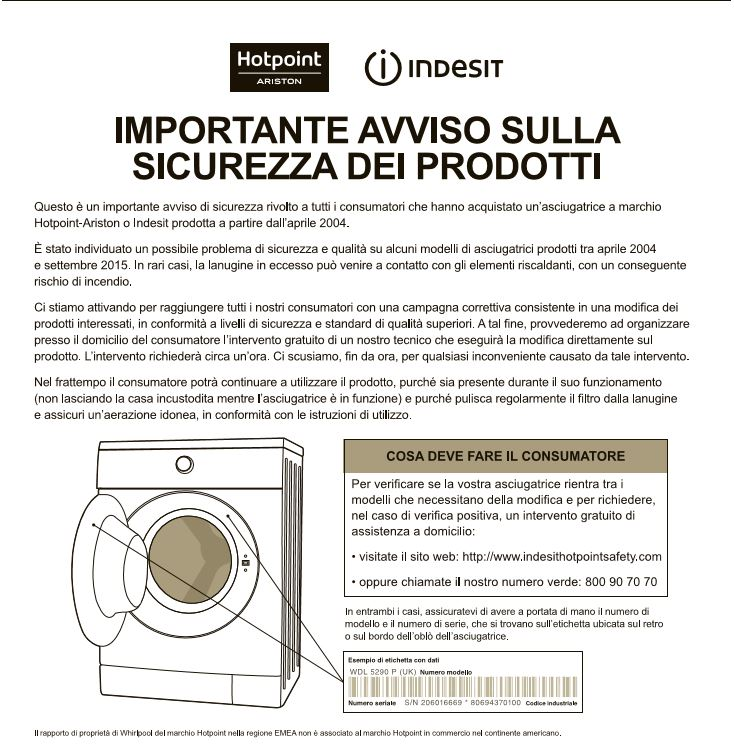 indesit ariston asciugatrice