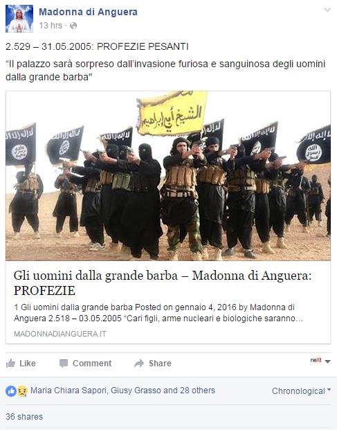 madonna di anguera isis roma profezia - 1
