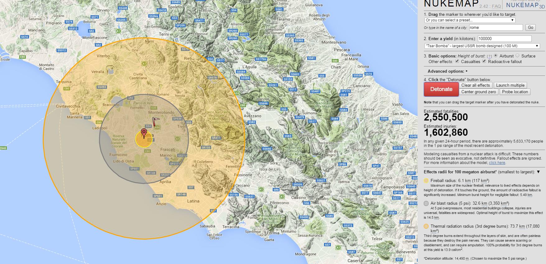 nukemap simulatore esplosioni bombe atomiche - 3