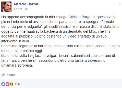 danilo toninelli cristina bargero insulti - 6