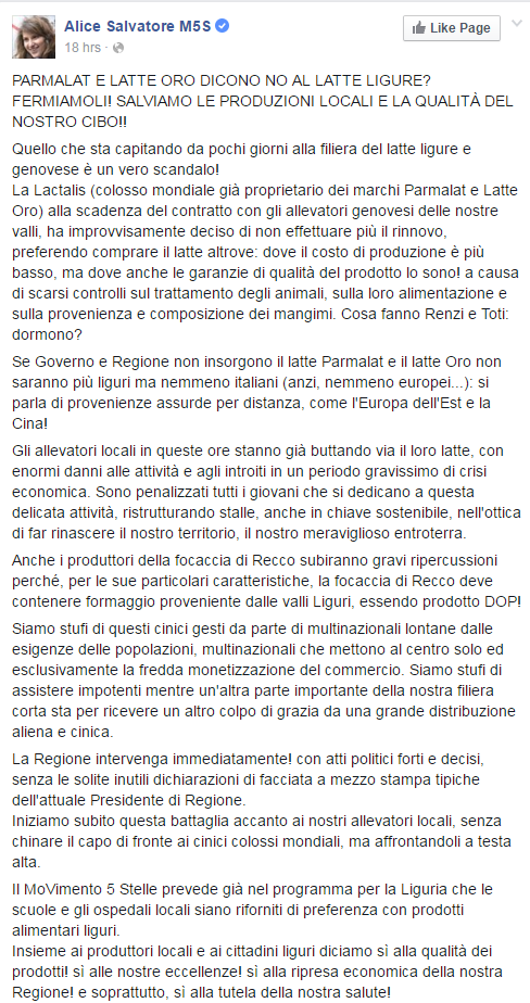 latte ligure parmalat m5s alice salvatore - 1