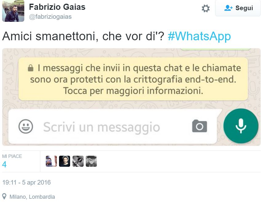 whatsapp messaggio crittografia end-to-end