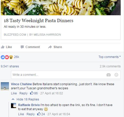 italiani cibo facebook - 15 pasta