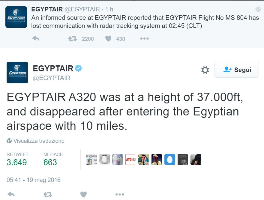 ms 804 aereo egyptair scompars