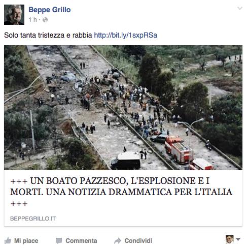 """La condivisione nella pagina Facebook """"Beppe Grillo"""""""