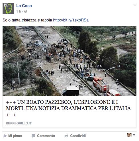 """La condivisione nella pagina Facebook """"La Cosa"""""""
