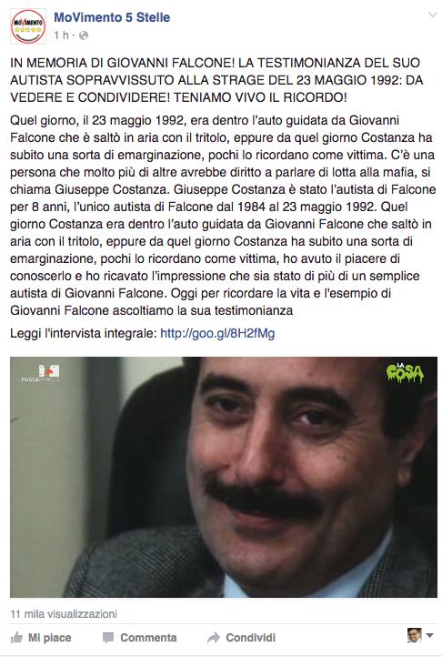 """La condivisione nella pagina Facebook """"Movimento 5 Stelle"""""""
