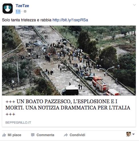 """La condivisione nella pagina Facebook """"TzeTze"""""""