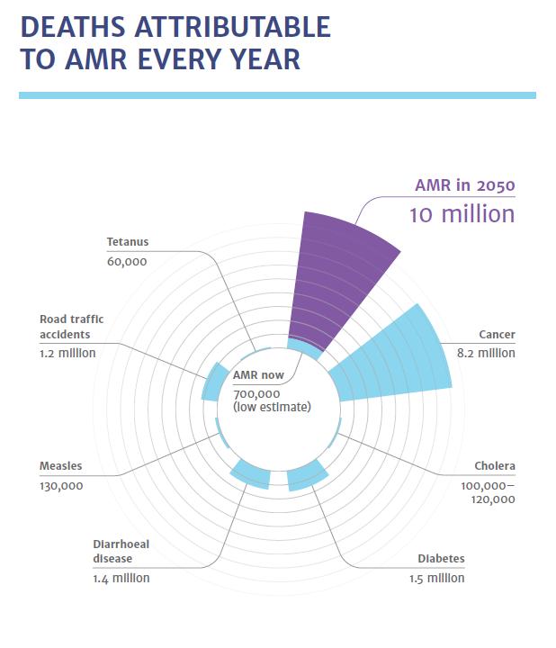 Le morti causate da AMR ogni anno e quelle stimate nel 2050 Fonte: Review on Antimicrobial Resistance
