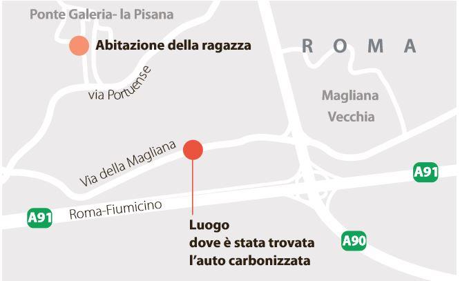 Sara Di Pietrantonio: il luogo in cui è stata ritrovata l'automobile (La Repubblica, 30 maggio 2016)