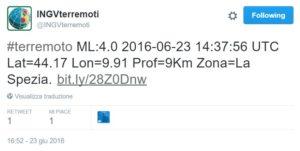 terremoto magnitudo 4.0 la spezia