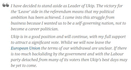 NIGEL FARAGE STATEMENT