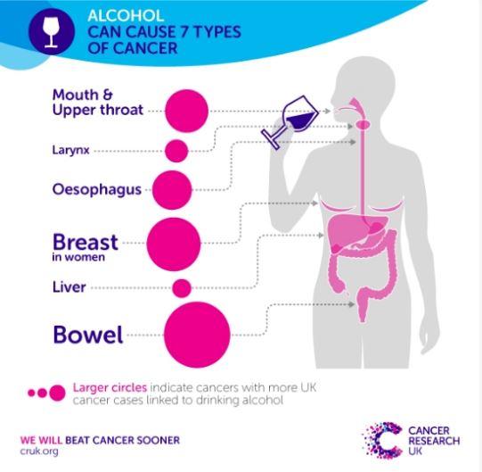 Tumori: il consumo di alcol può causarne di 7 tipi diversi