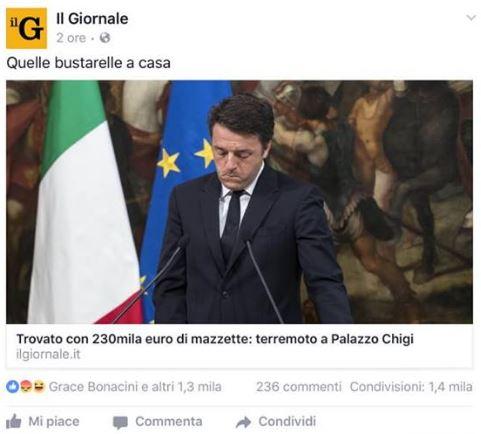 giornale renzi 230 mila euro contanti