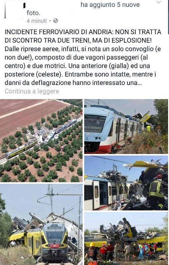 incidente ferroviario andria esplosione