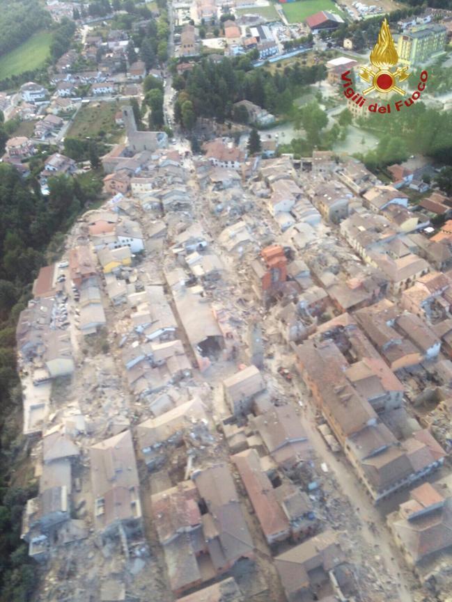 amatrice terremoto foto dall'alto