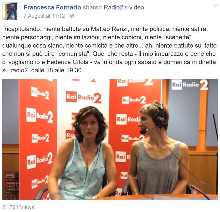 francesca fornario radio2