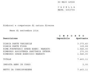 """RIMBORSO ASSISTENZA SANITARIA INTEGR. 270,00"""