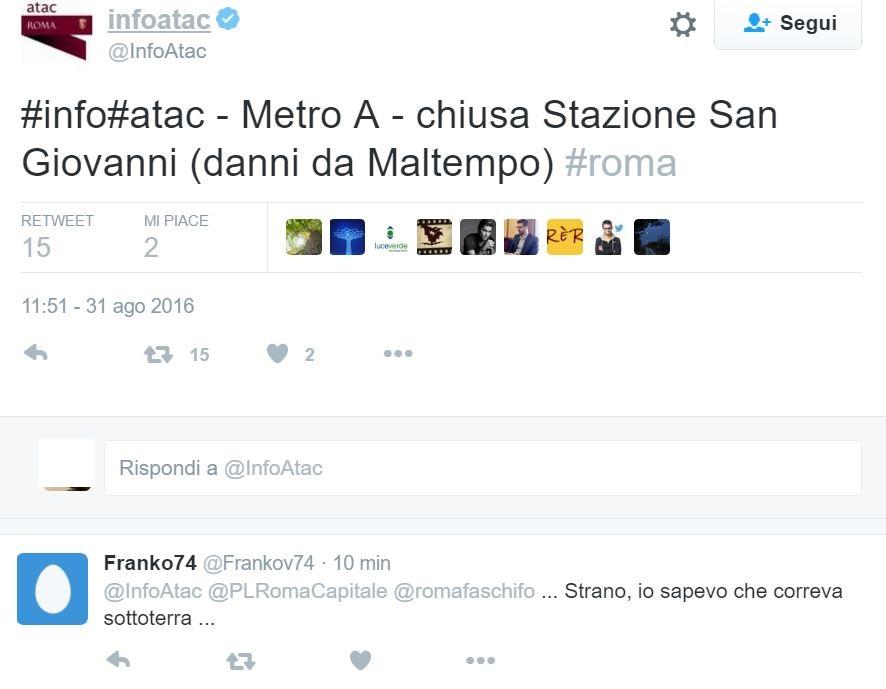roma maltempo metro 1