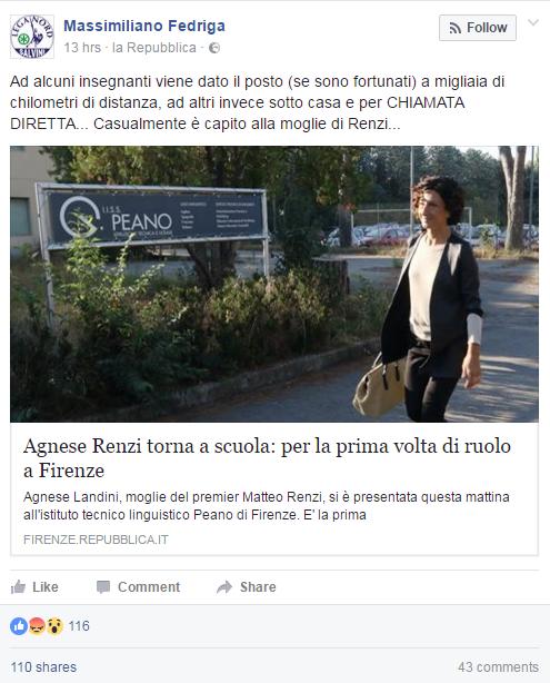 Agnese Renzi, primo giorno