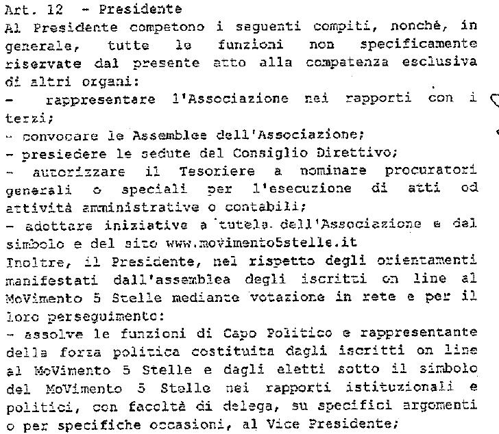 statuti movimento 5 stelle presidente capo politico