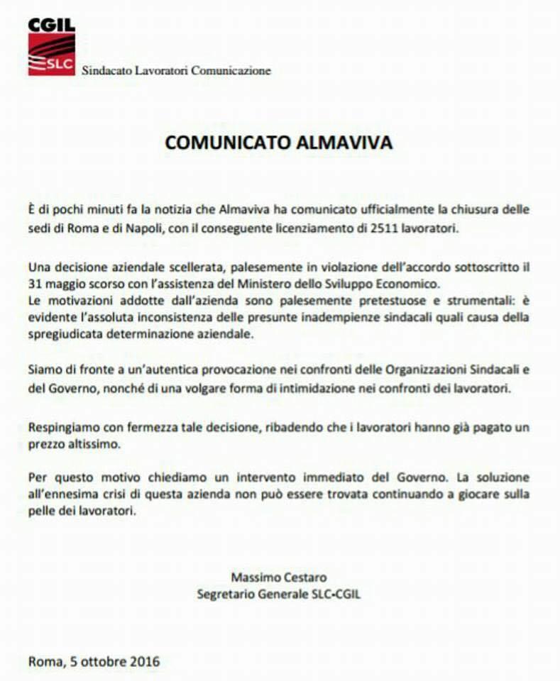 Scoppia il caso call center Almaviva: altri 2.500 tagli