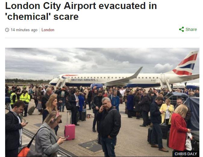 Allarme chimico al London City Airport, 27 soccorsi