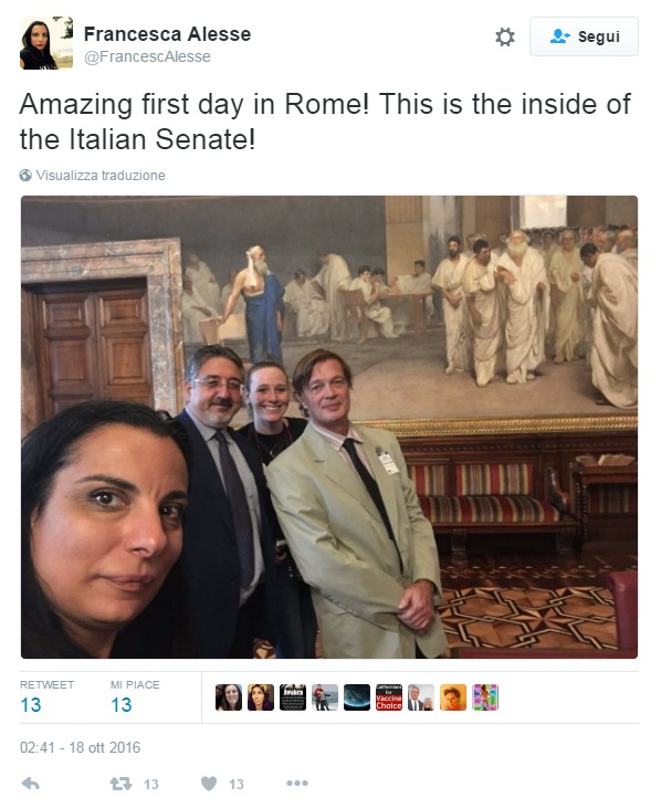 "Francesca Alesse: ""Amazing first day in Rome! This is the inside of the Italian Senate!"""