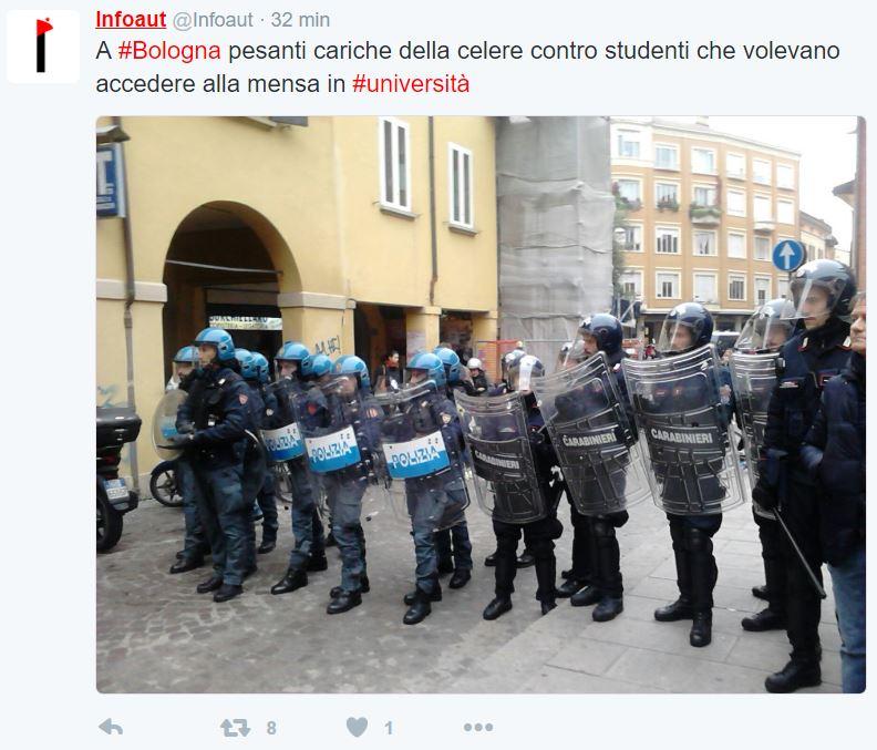 bologna studenti mensa polizia