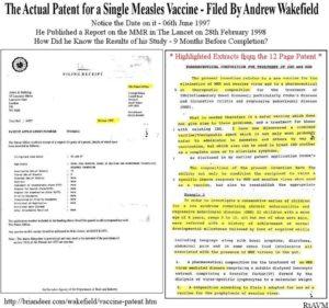 """Il brevetto depositato da Wakefield nel giugno 1997 per un tipo di vaccino che """"non causa autismo"""" quando il suo studio uscì nel febbraio 1998. L'ex medico aveva pianificato tutto"""