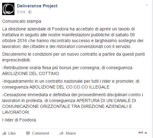 foodora sciopero sharing economy