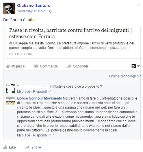 migranti gorino razzista