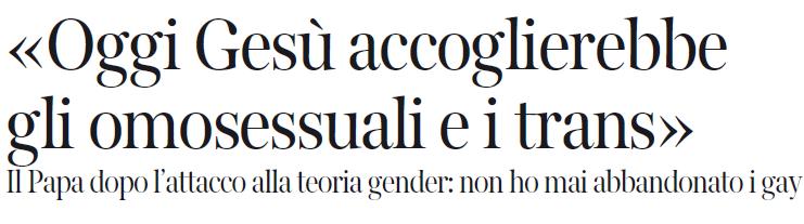 papa francesco gender