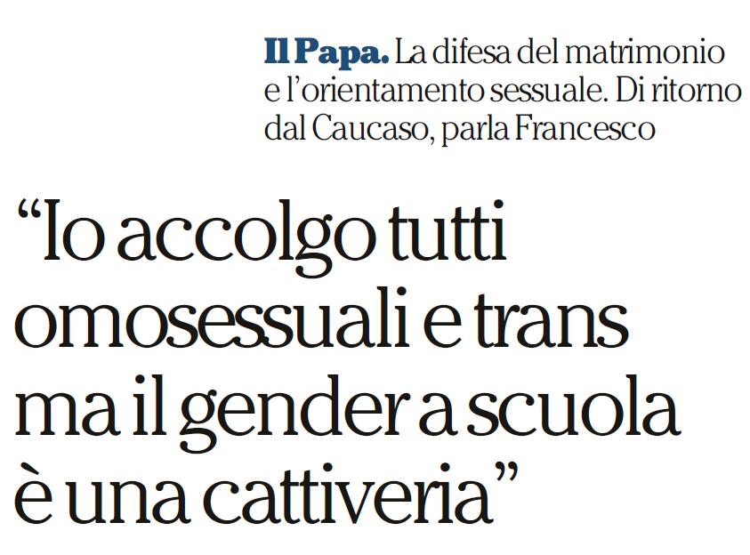 papa francesco bufala gender scuola
