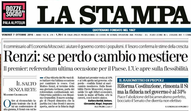 Risultati immagini per Renzi dice che se perde al referendum cambia mestiere