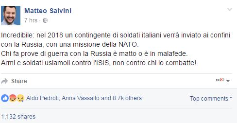 soldati italiani lituania VJTF beppe grillo