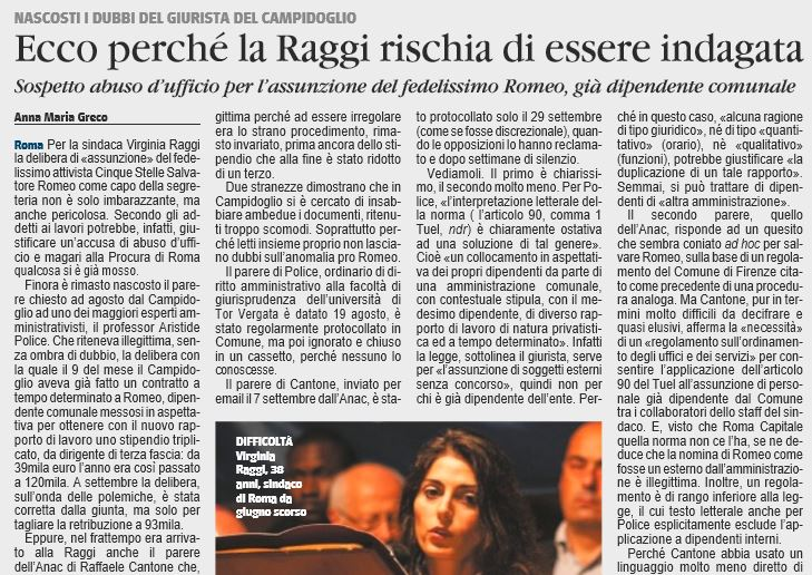 virginia raggi abuso dufficio